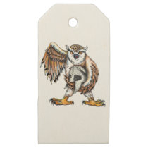 Owl Holding Spartan Helmet Tattoo Wooden Gift Tags