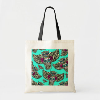 Owl holding sugar skull on mint green base. canvas bags