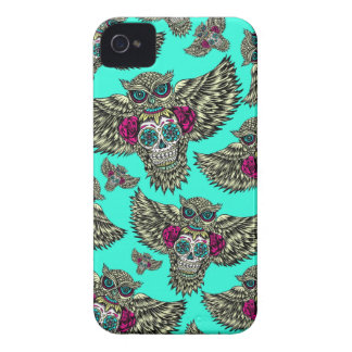 Owl holding sugar skull on mint green base. iPhone 4 Case-Mate case