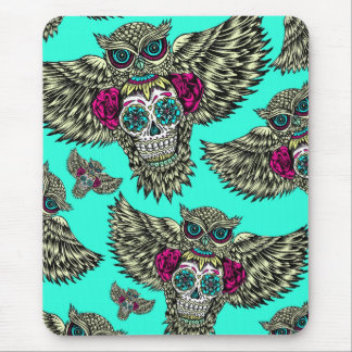Owl holding sugar skull on mint green base. mouse pad