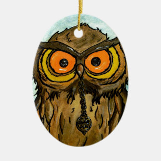 Owl Holding Treasure Ceramic Ornament