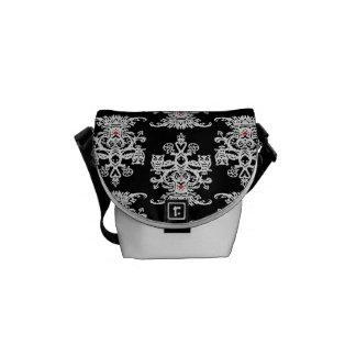Owl hollow - black white courier bag
