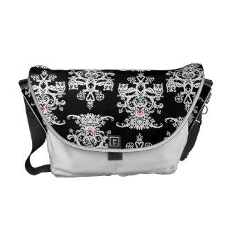 Owl hollow-black white messenger bag