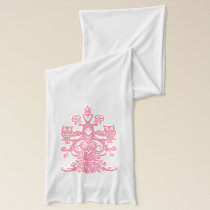 Owl hollow pink scarf