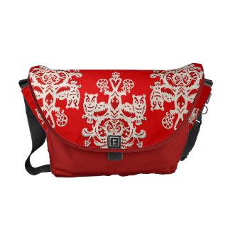Owl hollow - red-black messenger bag