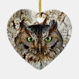 Owl Hoot Eyes Animal Bird Ceramic Ornament