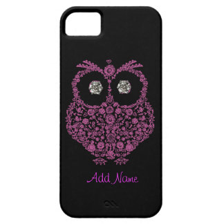 OWL I Phone 5 Case  BLING  BLACK AND PINK