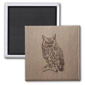 Owl illustration engraved on wood design 2 inch square magnet