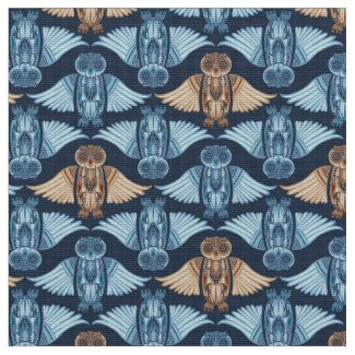 Owl illustration in abstract traditional pattern fabric