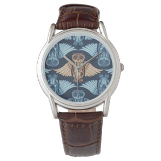 Owl illustration in abstract traditional pattern wrist watches