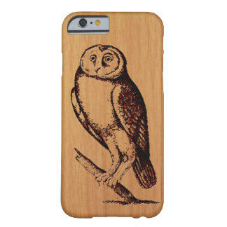 Owl Illustration on Cherry Wood Barely There iPhone 6 Case