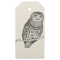 Owl Illustration On Tree Wooden Gift Tags