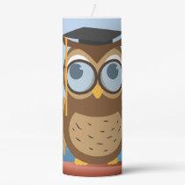 Owl illustration pillar candle