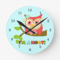 Owl I'm a Hoot Round Clock