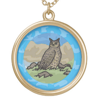 Owl in a Circle Gold Plated Necklace