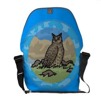 Owl in a Circle Messenger Bag