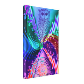 Owl in a colourful fantasy environment canvas print