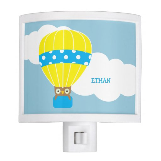 Owl in a Hot Air Balloon Personalized Night Light