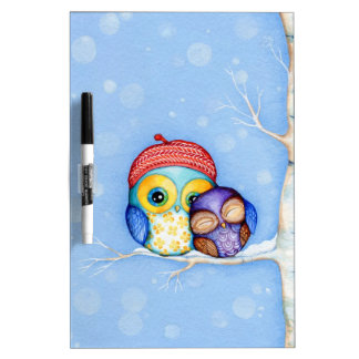 Owl in a Little Red Beret Dry Erase Board