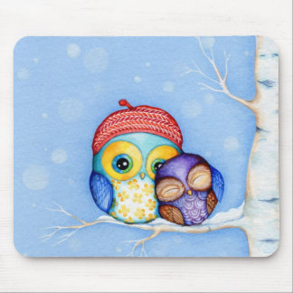Owl in a Little Red Beret Mouse Pad