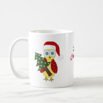 Owl in a Santa Hat with Christmas Tree Coffee Mug