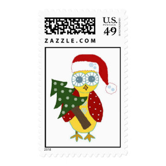 Owl in a Santa Hat with Christmas Tree Stamps