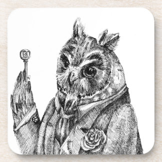 Owl in a suit beverage coaster