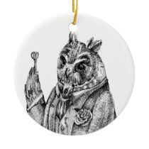 Owl in a suit ceramic ornament