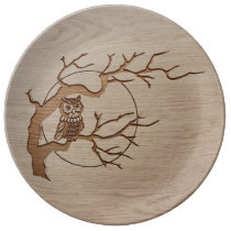 Owl in a tree engraved design porcelain plate