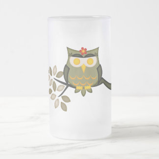 Owl in a tree Frosted Mug