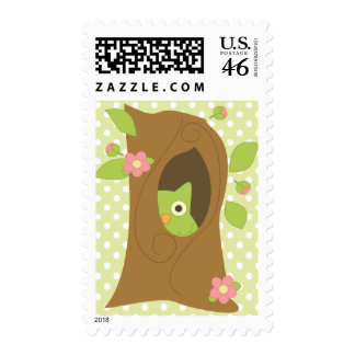Owl in a Tree Postage Stamp