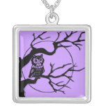 Owl in a Tree Silver Plated Necklace