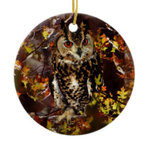 Owl in Autumn Ceramic Ornament