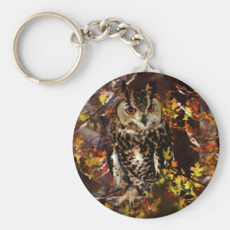 Owl in Autumn Key Chains