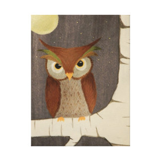 """Owl in birch tree """"night watch"""" gallery wrapped canvas"""