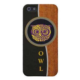 owl in black and wood case for iPhone SE/5/5s