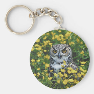 Owl in Buttercups Basic Round Button Keychain