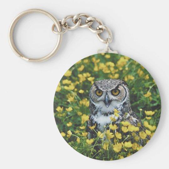 Owl in Buttercups Keychain