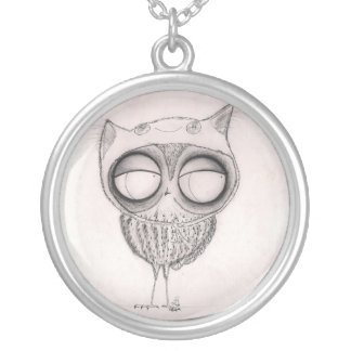 Owl in Cat-Hat - Sterling Silver Necklace