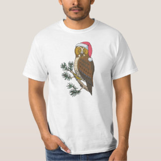 owl in christmas hat tshirt