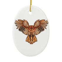 Owl in Flight 2 Ceramic Ornament