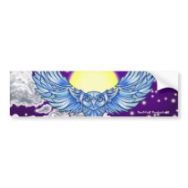 Owl in flight bumper sticker