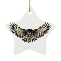 Owl in Flight Ceramic Ornament