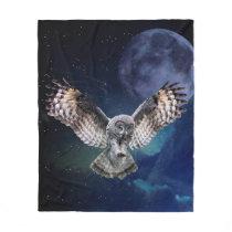 Owl in Flight Fleece Blanket