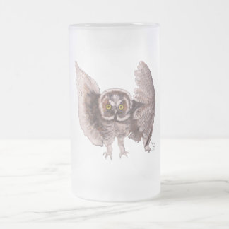 """""""Owl In Flight"""" Frosted Glass Mug"""