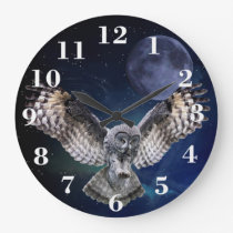 Owl in Flight Large Clock