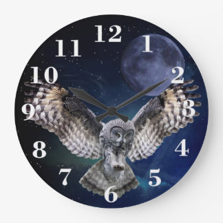Owl in Flight Large Clock