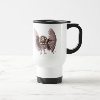 """Owl In Flight"" Plastic Travel Mug"