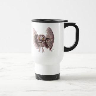 """Owl In Flight"" Plastic Travel Mug"