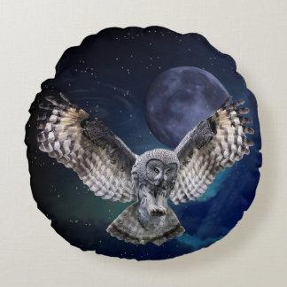 Owl in Flight Round Pillow